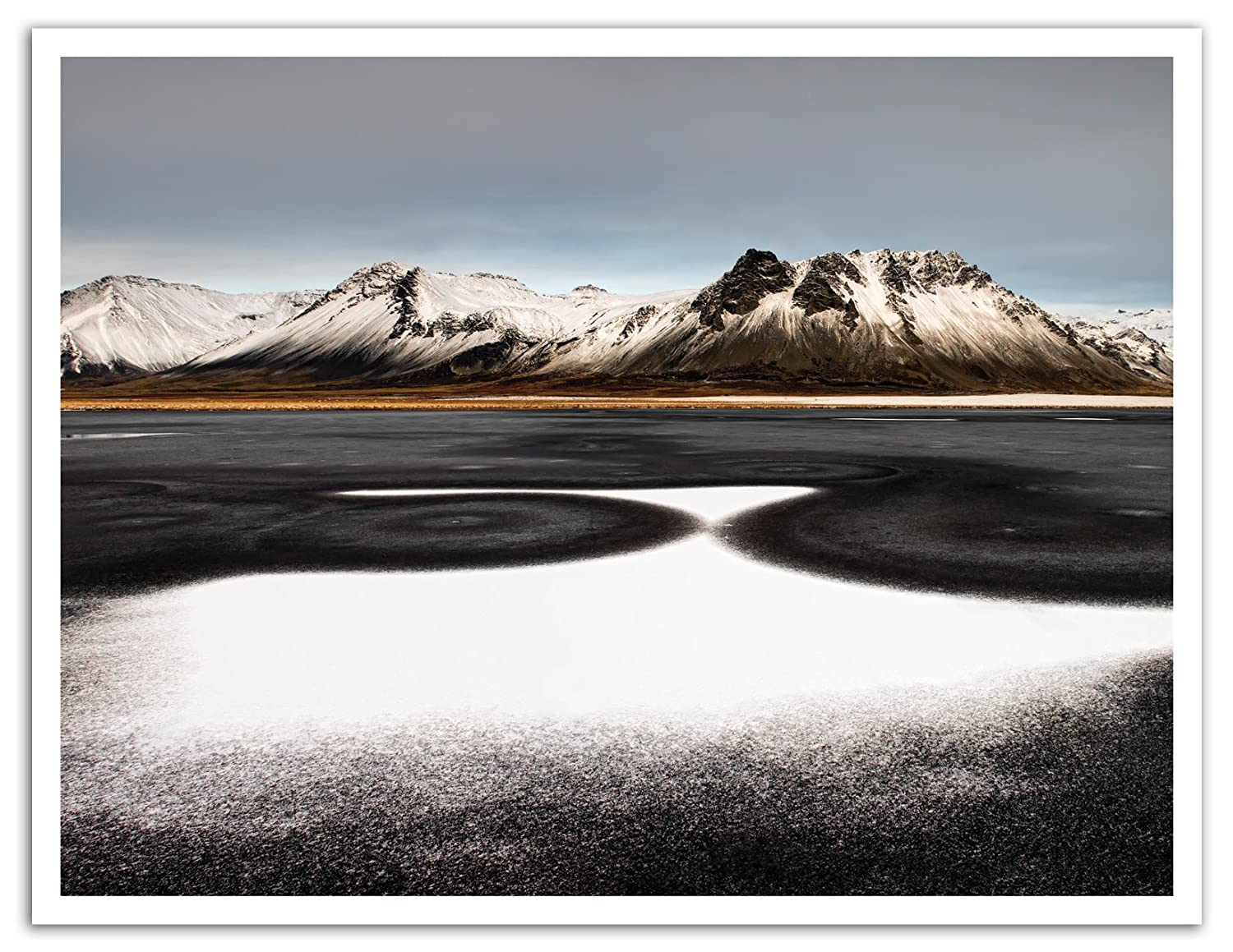 JP London POS1X762632 Jpl and Liloni Luca Present Iceland First Snow Mounta Range Peaks 25.75 by 19.75 Peel and Stick Fully Removable Wall Poster Mural