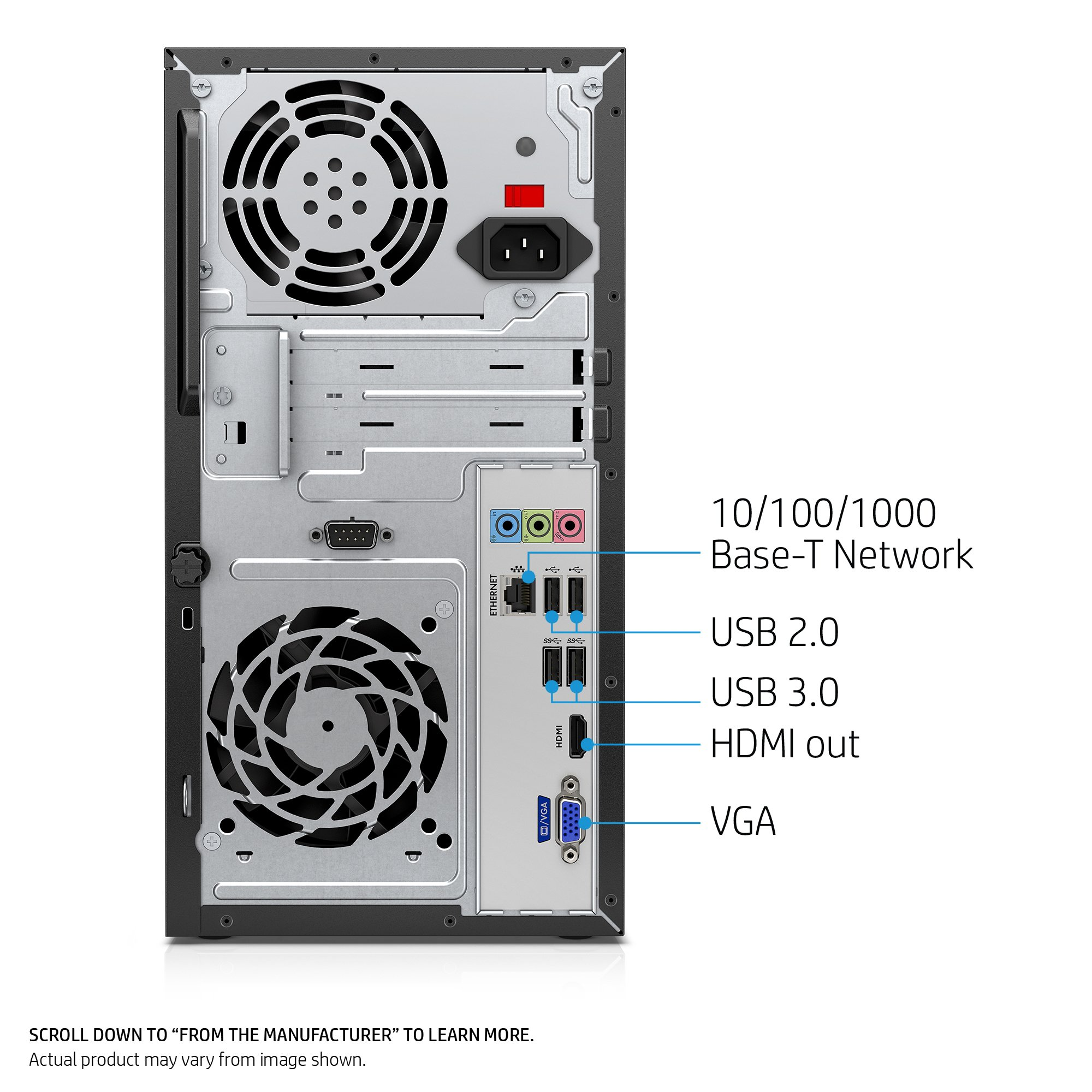 HP Pavilion Desktop Computer, Intel Core i7-7700, 12GB RAM, 1TB hard drive, Windows 10 (570-p030, Black) by HP (Image #2)