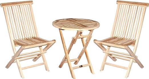 CHICREAT - Juego de muebles de balcón de tres piezas de madera de teca, silla plegable y
