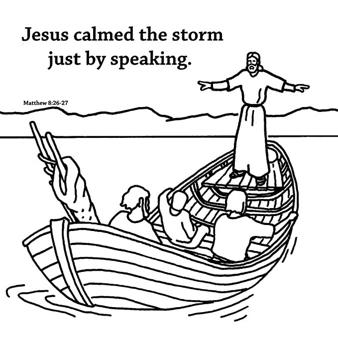 Amazon Jesus Calms The Storm Coloring Card 12 Pk 30015 Everything Else