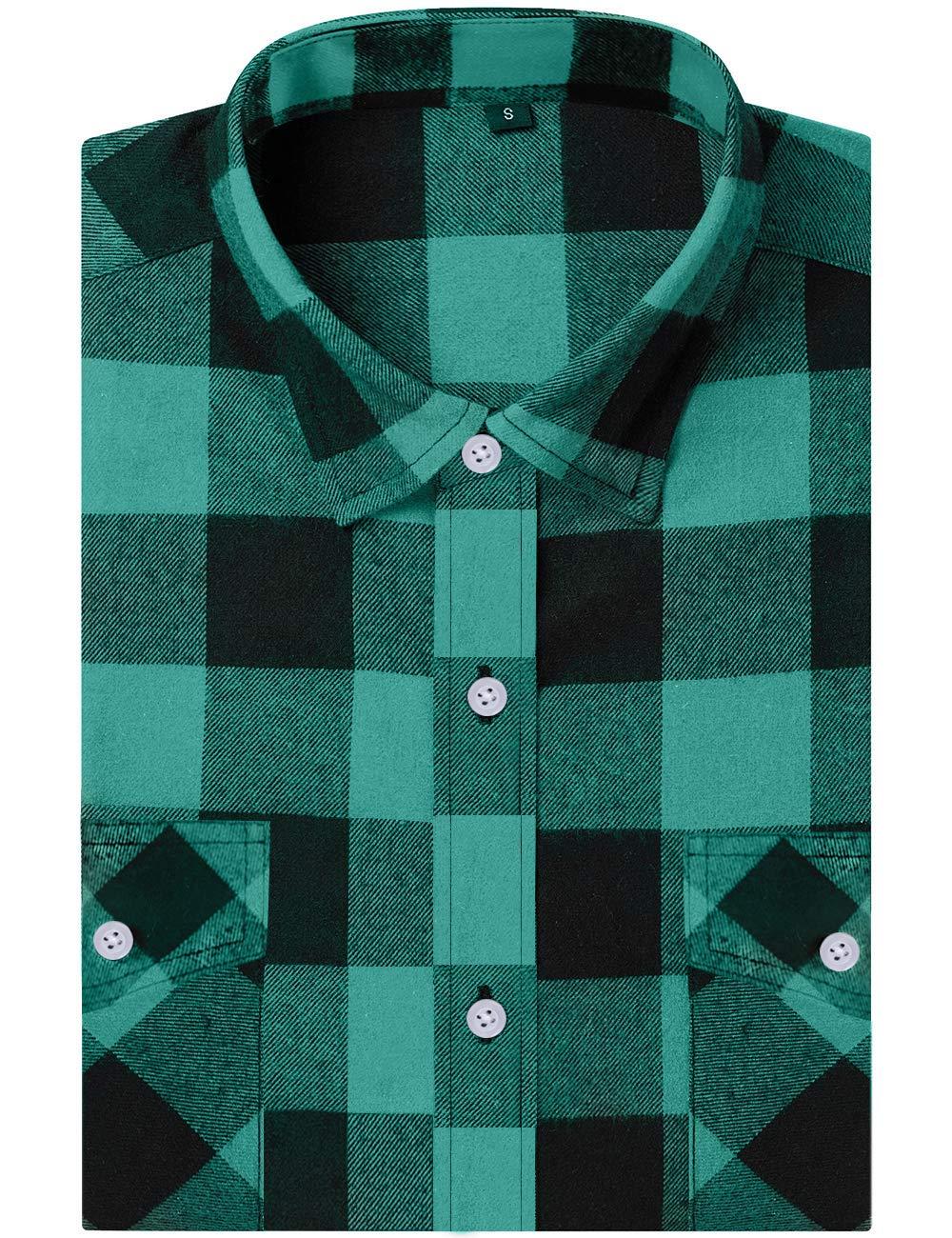 DOKKIA Vardaglig flanellskjorta rutig toppar långärmad buffel pläd arbete klänning blusar jacka Green Black Buffalo
