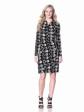 KAMALIKULTURE Women's Long Sleeve Side Drape Dress, Black/White, X-Small