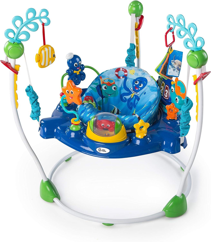 Baby Einstein, Saltador y Centro de actividades Neptune's Ocean Discovery con 15 juguetes interactivos multilingües, luces y música, altura ajustable