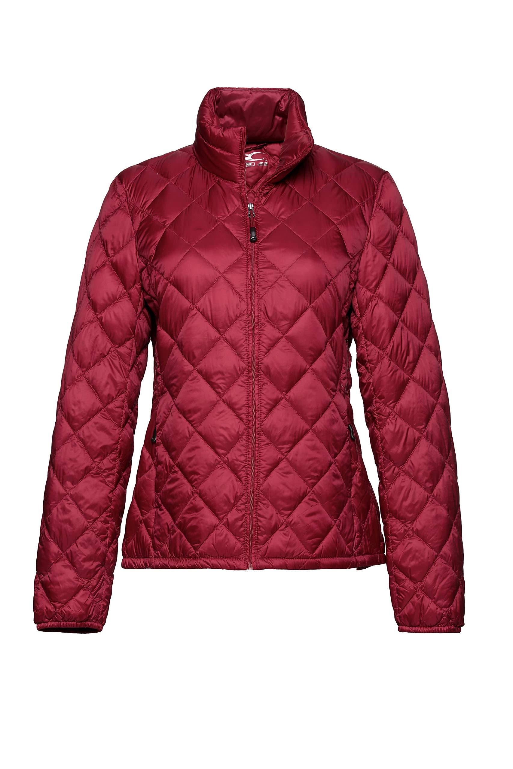 XPOSURZONE Women Packable Down Jacket Lightweight Puffer Coat True Red XL