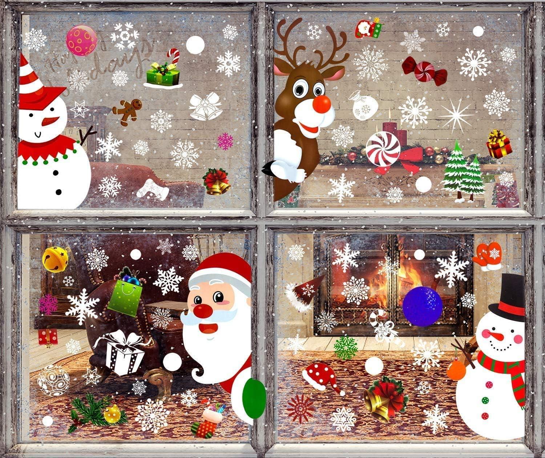 8 Hojas de Pegatinas Ventana Navidad Santa Muñeco de Nieve Alce de la Puerta Pegatinas Navidad Cristal Decoración de la Ventana Reutilizable Bricolaje Pegatinas Electrostáticas Calcomanías ventanas