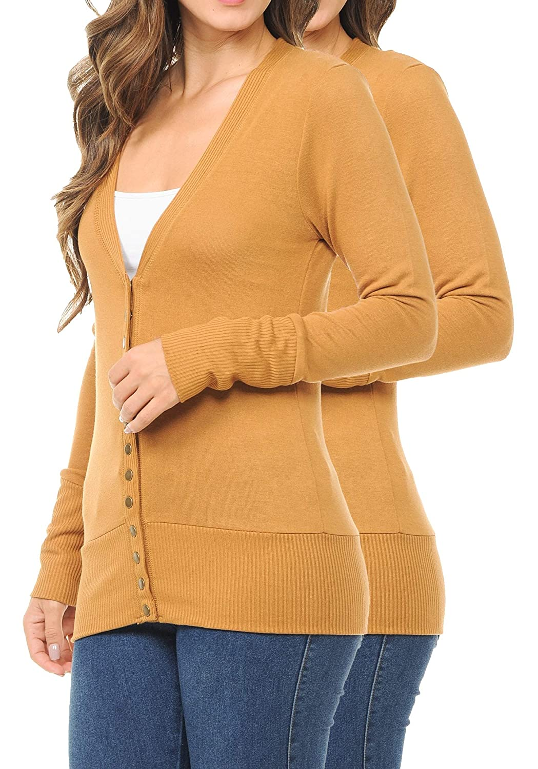 ClothingAve Womens Snap Button Sweater Cardigan with Ribbed Detail