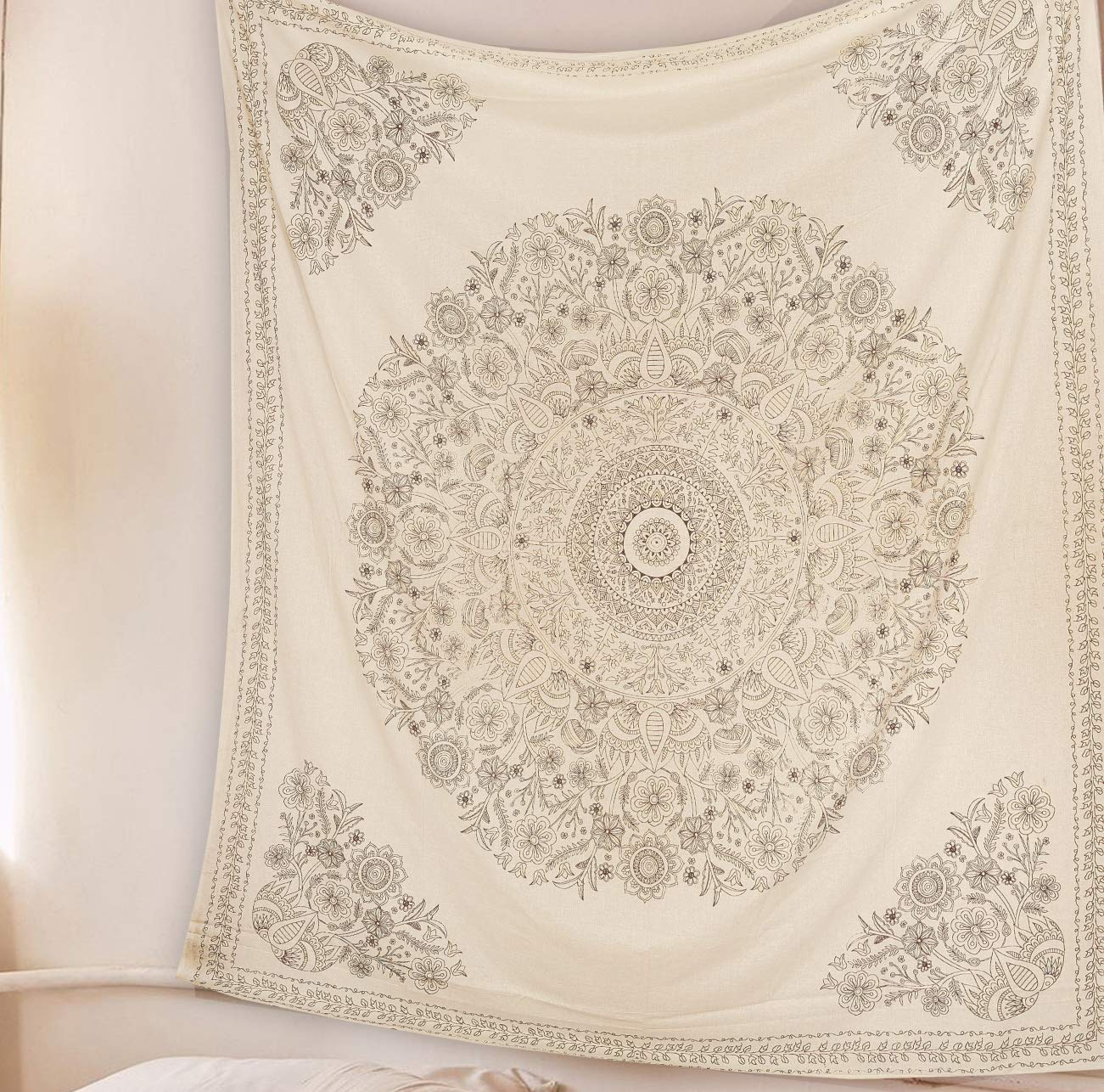 SheetKart Mandala Tapestry Wall Hanging, Medallion Indian Cotton Printed Floral Art, Wall Décor Tapestries - Large, Beige