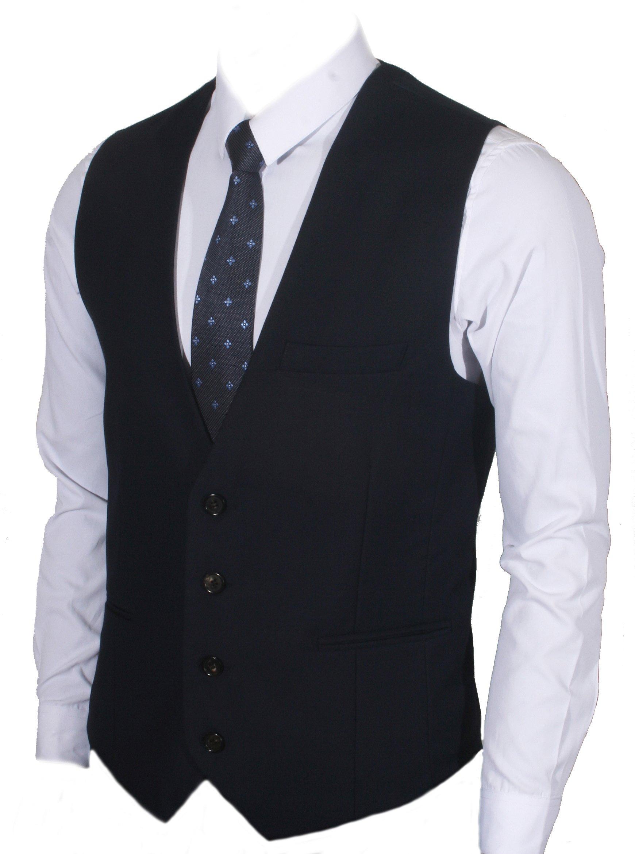 Ruth&Boaz Men's 3Pockets 4Button Business Suit Vest (L, Navy)