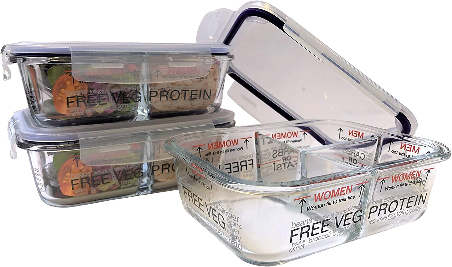 Portion Control Glass Meal Prep Container/Lunchbox 3pk, Weight-Loss for Men & Women, Heat Proof, 3 Compartment + Lids, Practical Weight Control with Clear Instruction Guide by Portion Perfection