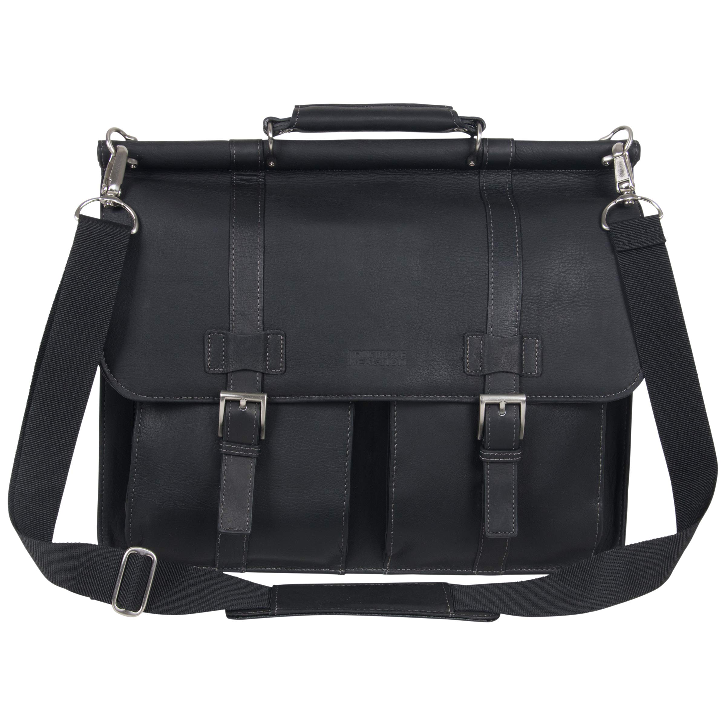Kenneth Cole Reaction Colombian Leather Dual Compartment Flapover 15'' Laptop Dowelrod Business Portfolio, Black