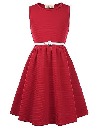 50s Girl Costumes, 50s Girl's Dresses GRACE KARIN Girls Retro Sleeveless Swing Dresses with Belt $26.99 AT vintagedancer.com