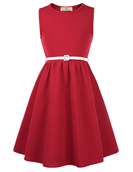 c989f415cb50 GRACE KARIN Girls Retro Sleeveless Swing Dresses with Belt  Amazon ...