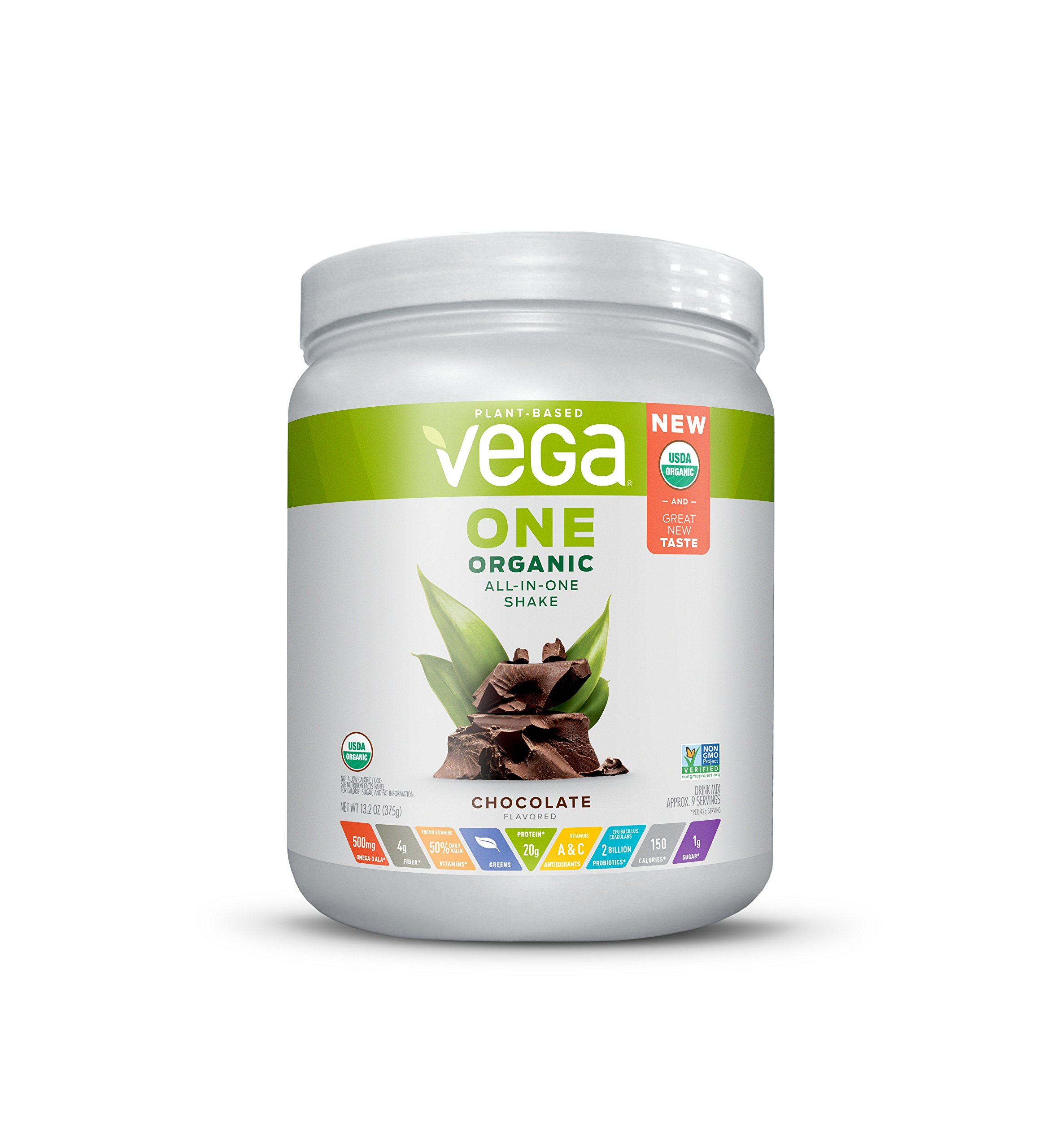 Vega One Organic All-in-One Shake Chocolate (9 servings, 13.2 oz) - Plant Based Vegan Protein Powder, Non Dairy, Gluten Free, Non GMO
