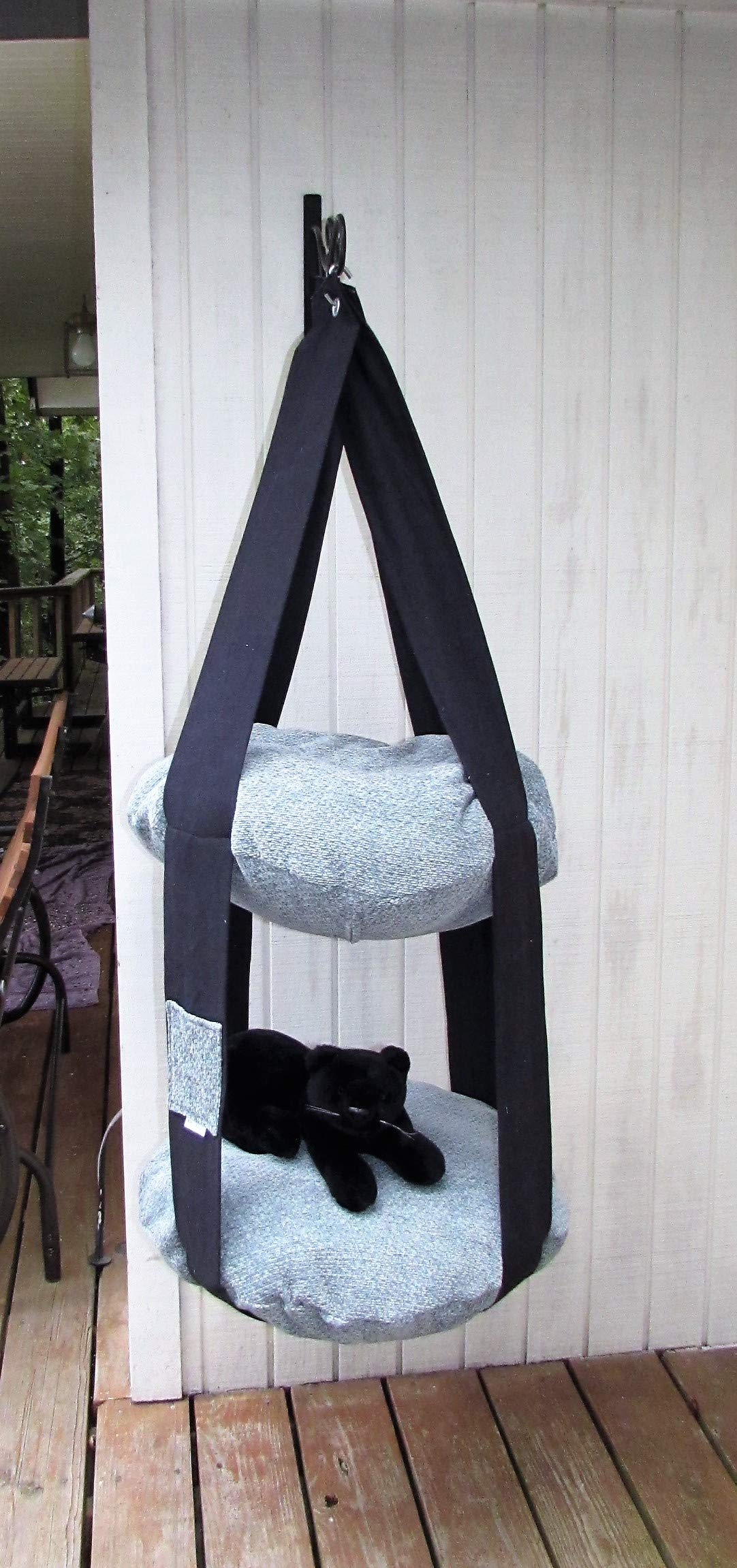 Cat Bed Charcoal & Aqua Double Hanging Cat Bed, Kitty Cloud Cat Bed, Pet Furniture, Cat Tree