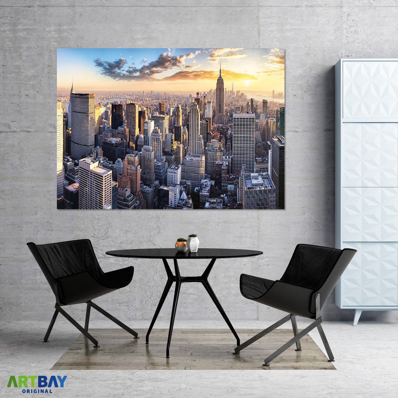61X91.5cm New York City Brooklyn Bridge Skyline Sunset Art Print Poster 24X36