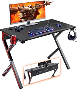 """Mr IRONSTONE Gaming Desk 45.2"""" W x 23.6"""" D Home Office Desk, Gaming Workstation with Power Strip of 3-Outlet & 2 USB Ports, Cup Holder, Headphone Hook, and Cable Management (Red)"""