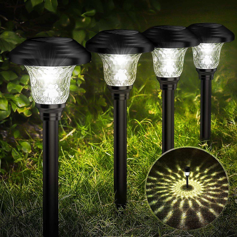 Voona 6-Pack Solar-powered Square Outdoor Garden Lights Black Plastic Landsca...