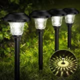 Balhvit Glass Solar Lights Outdoor, 8 Pack Super Bright Solar Pathway Lights, Up to 12 Hrs Long Last Auto On/Off Garden Light