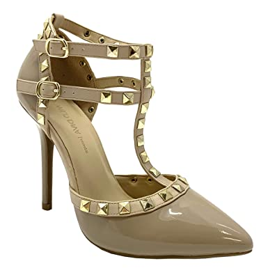 919dd7fe851 Wild Diva Womens Pointy Toe Gold Stud Strappy Ankle T-Strap Stiletto Heel  Pump Sandal