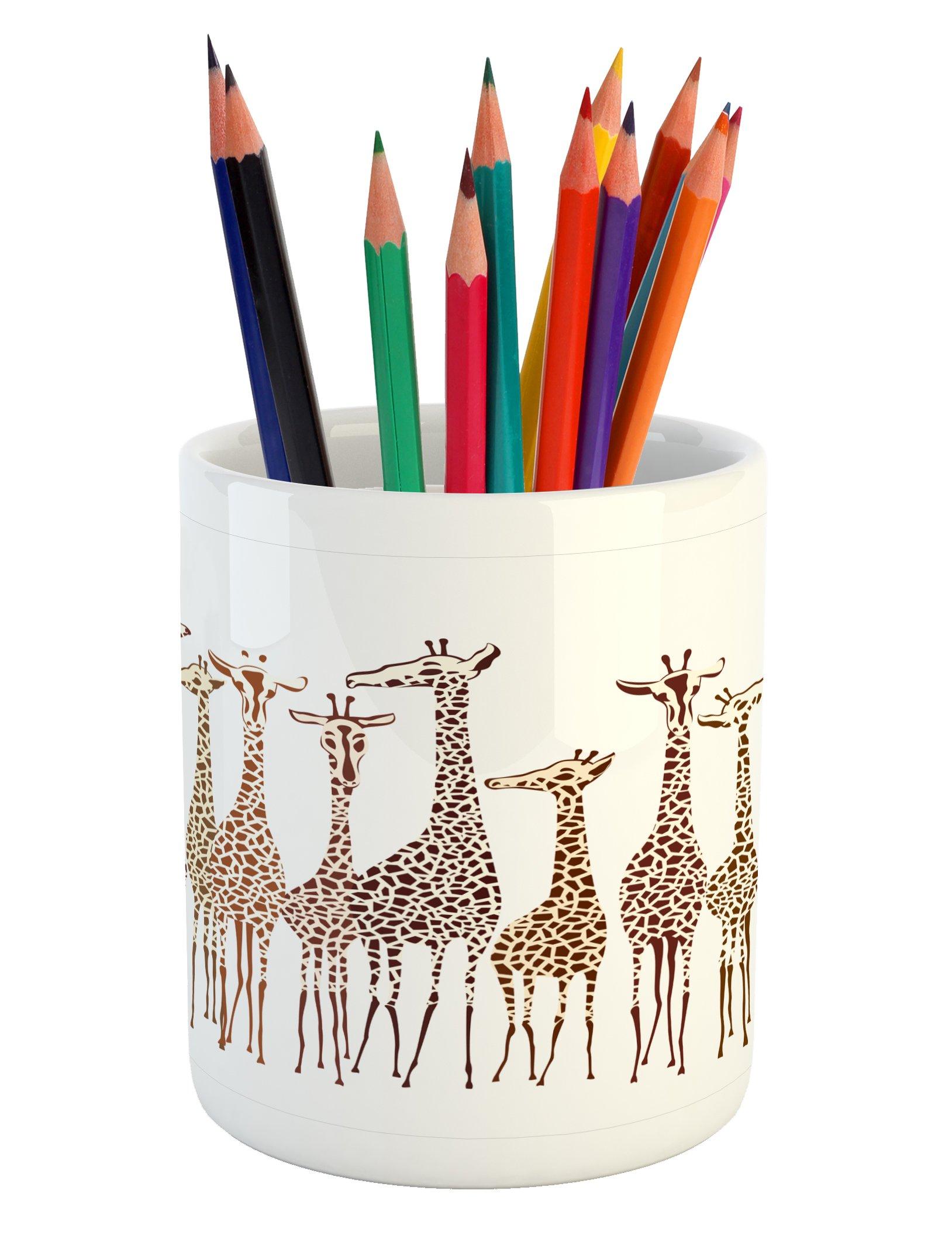 Lunarable Safari Pencil Pen Holder, Tropical Giraffes Exotic Climates Wilderness Savannah Animals Artful Illustration, Printed Ceramic Pencil Pen Holder for Desk Office Accessory, Multicolor by Lunarable