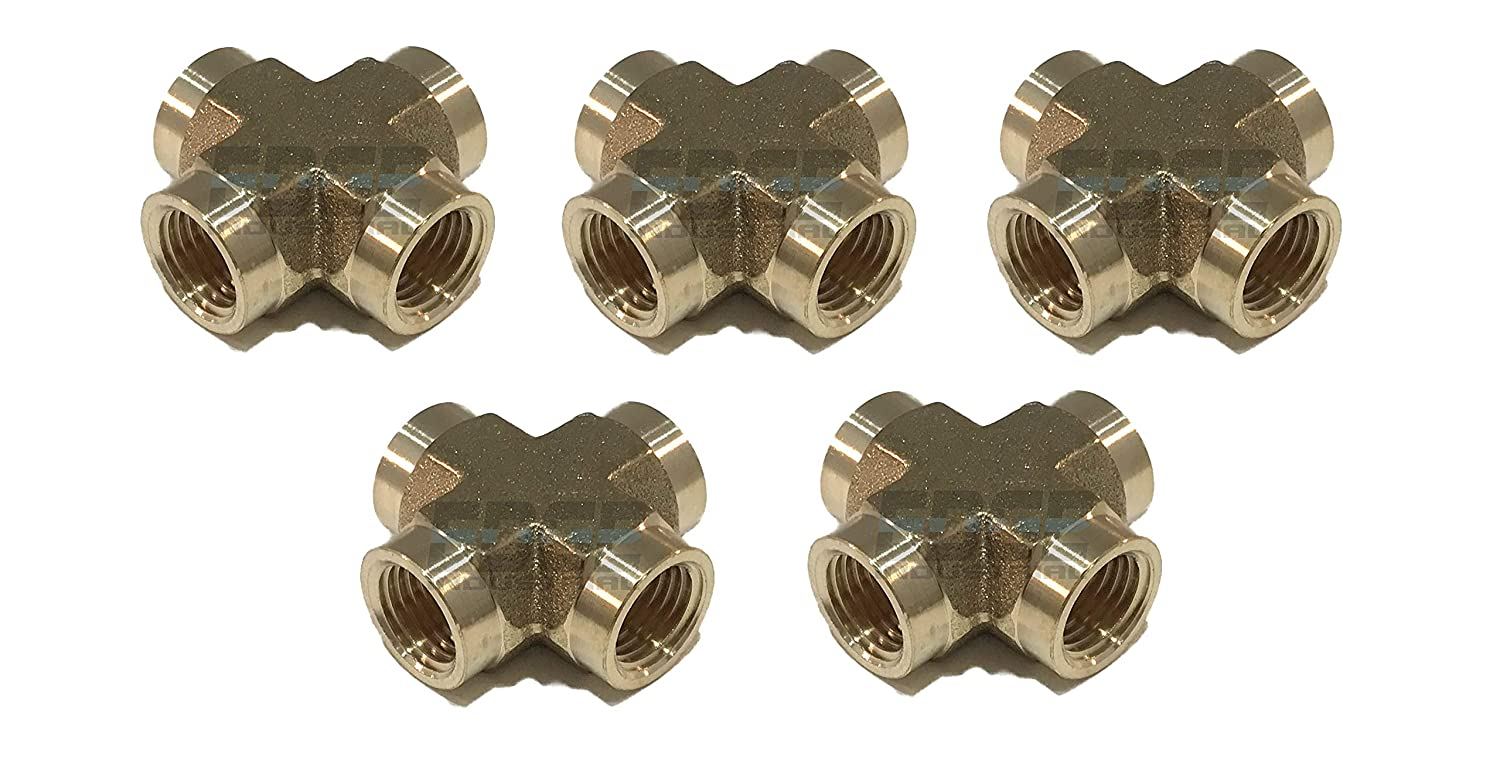 AIR// Water EDGE INDUSTRIAL Forged Brass Cross Fitting 1//4 Female NPT FNPT Fuel Oil// Gas WOG Qty 01