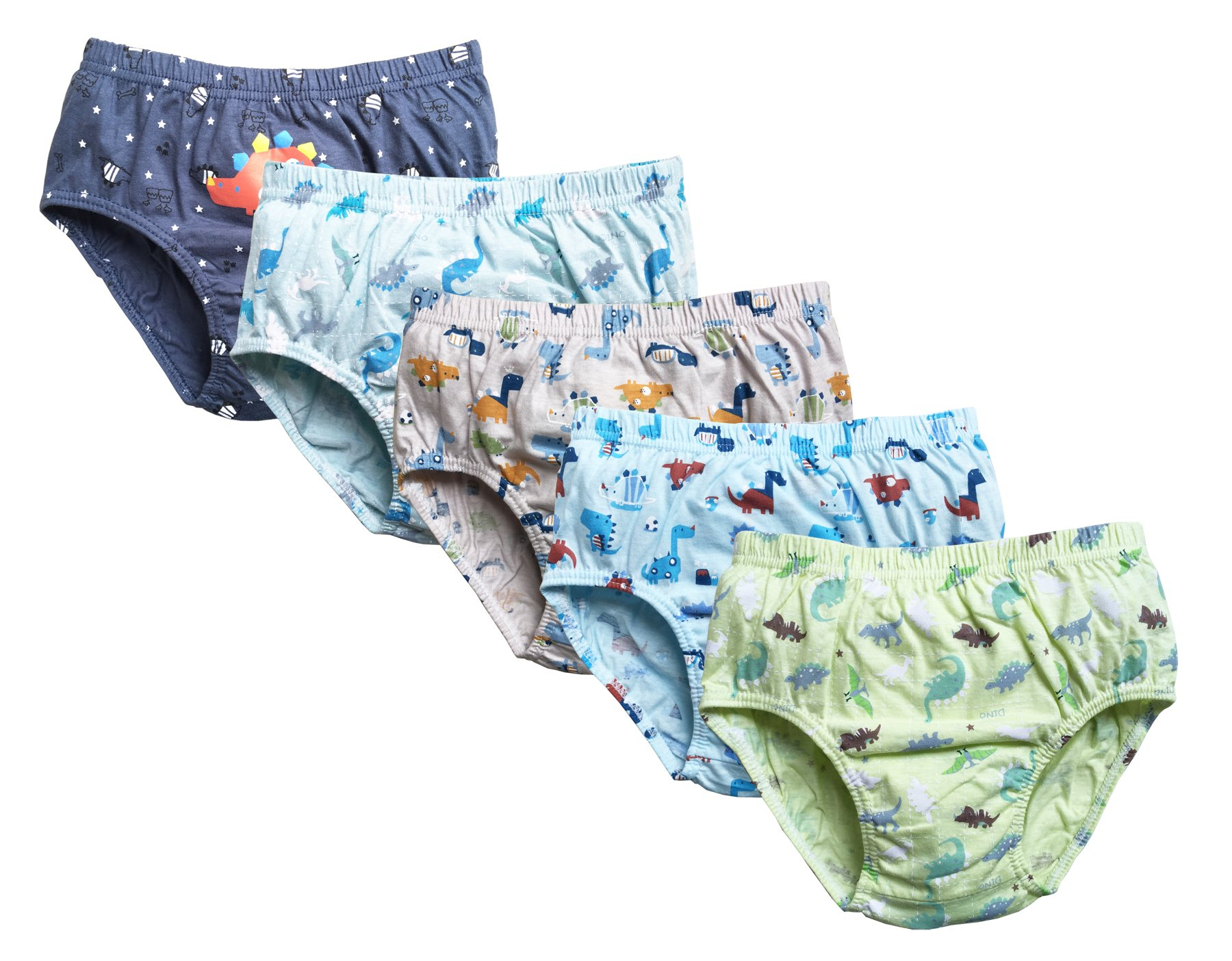 CHUNG Little Boys Toddlers Cotton Briefs Underwear Animal Dinosaur Car 5 Pack 3-7Y (2T, Dinosaur Family)