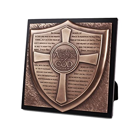 Lighthouse Christian Products Moments of Faith Full Armor of God Sculpture Plaque, 8 3 4 x 8 3 4