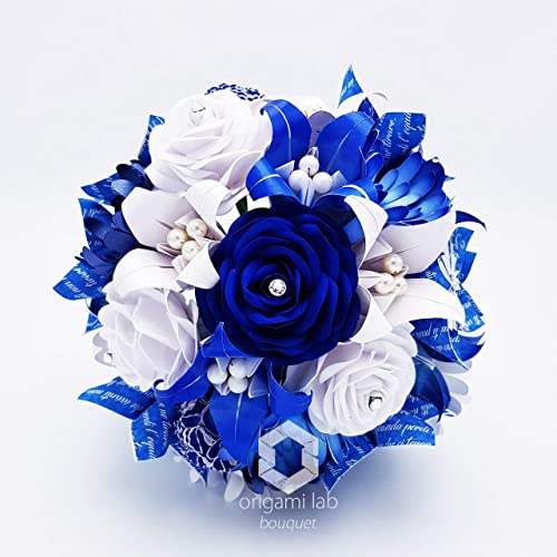 Bouquet Blu Sposa.Bouquet Di Carta Crystallized Swarovski Elements Bianco E Blu