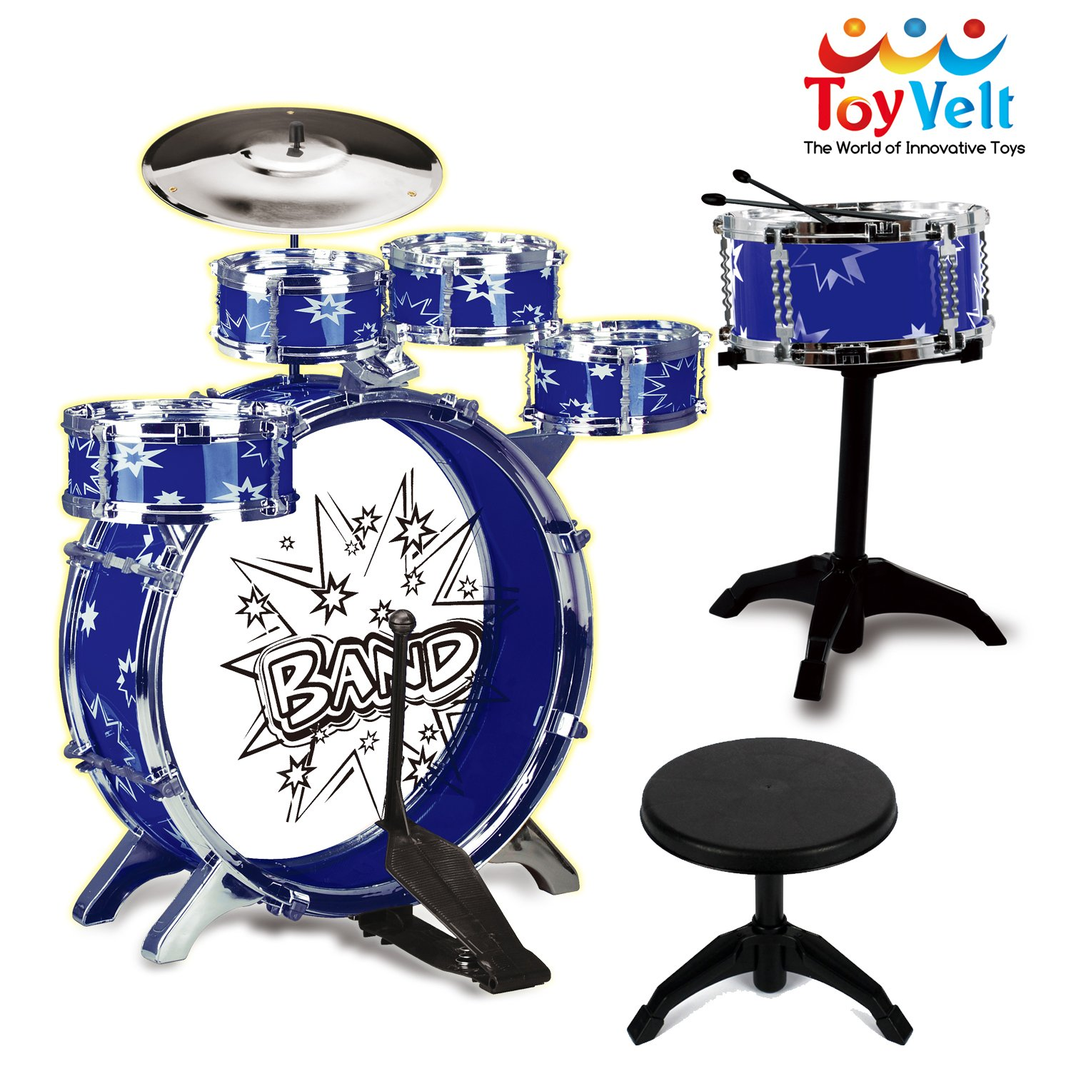 12 Piece Kids Jazz Drum Set – 6 Drums, Cymbal, Chair, Kick Pedal, 2 Drumsticks, Stool – Little Rockstar Kit to Stimulating Children's Creativity, - Ideal Gift Toy for Kids, Teens, Boys & Girls ToyVelt PS75A Blue-Toyvelt