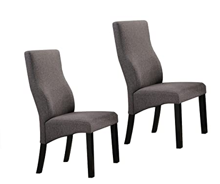 Kings Brand Cappuccino Grey Upholstered Parsons Dining Chairs, Set of 2
