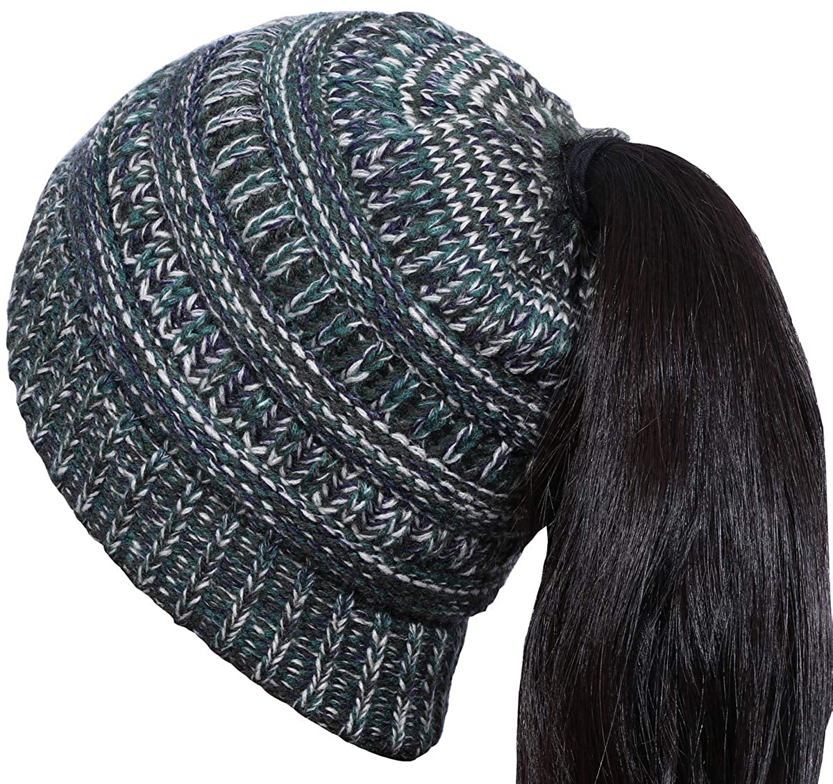 Women's Winter Hats Girls Beanie Messy Bun PonytaiL Ribbed Hat Cap