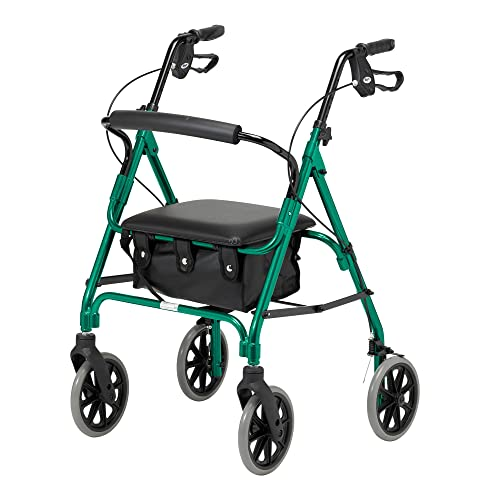 Days Lightweight Folding Four Wheel Rollator Walker with Padded Seat, Lockable Brakes, Ergonomic Handles, and Carry Bag, Limited Mobility Aid, Racing Green, Medium, (Eligible for VAT relief in the UK)