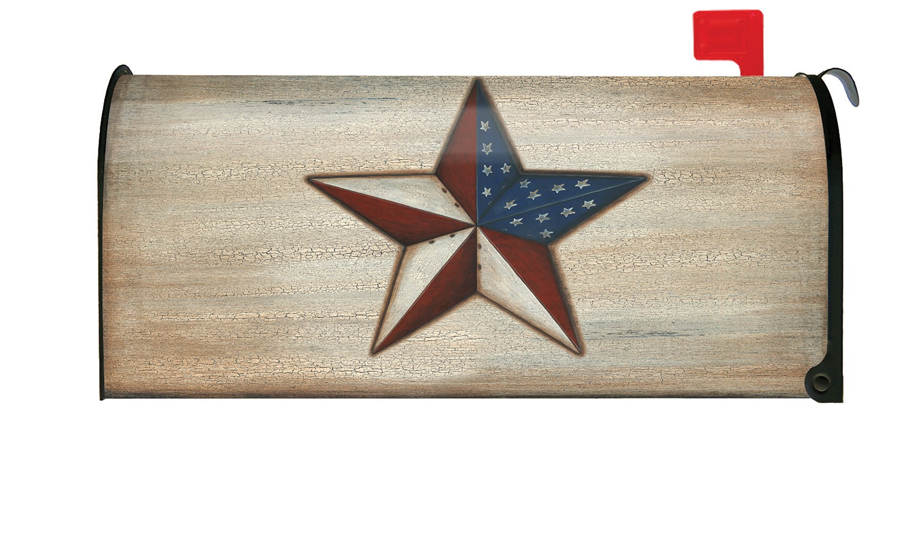 Toland Home Garden American Star Rustic Patriotic USA Stars Stripes Magnetic Mailbox Cover