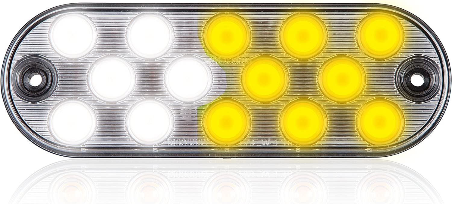 Maxxima M63353WYCL 14 LEDs Oval White//Amber 6.5 Emergency Warning Surface Mount 11 Selectable Flash Patterns