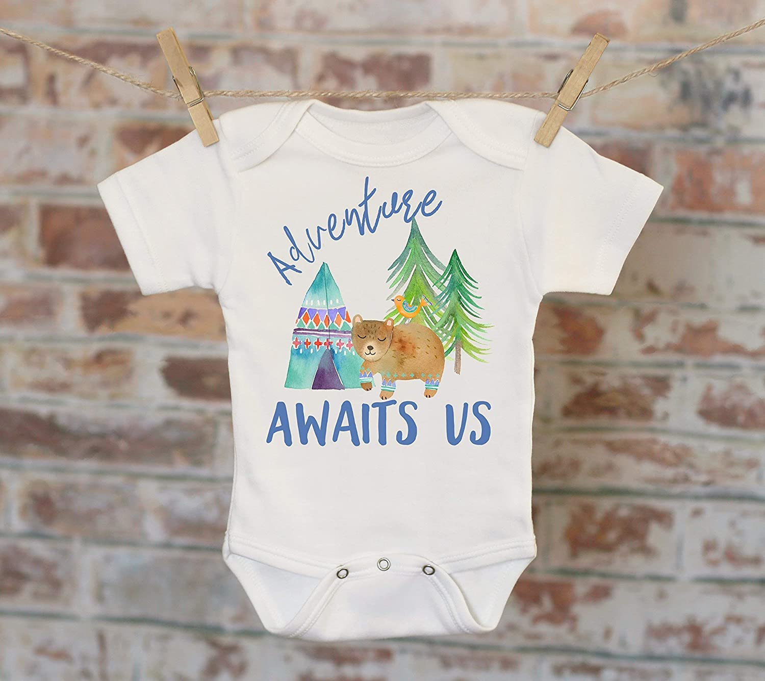 Adventure Awaits Us Onesie® in Blue, Woodland Animals Onesie, Bohemian Onesie, Cute Baby Bodysuit, Cute Onesie, Boho Baby Onesie, Boy Onesie