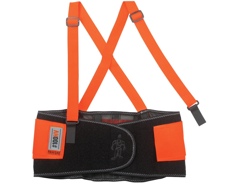 Ergodyne ProFlex 100HV Economy Hi-Vis Back Support Belt, Large, Orange