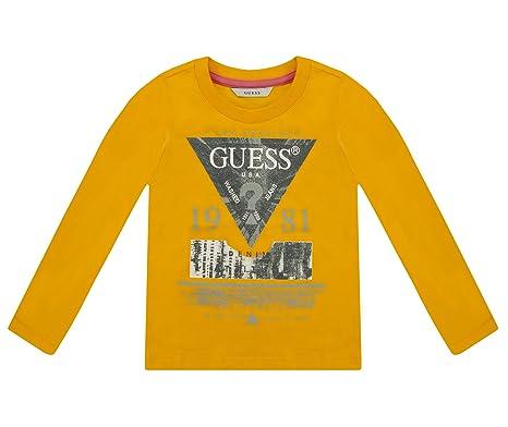 2795554cf2ce Guess Boys Orange Triangle Logo Long Sleeve T-Shirt 5 Years: Amazon ...