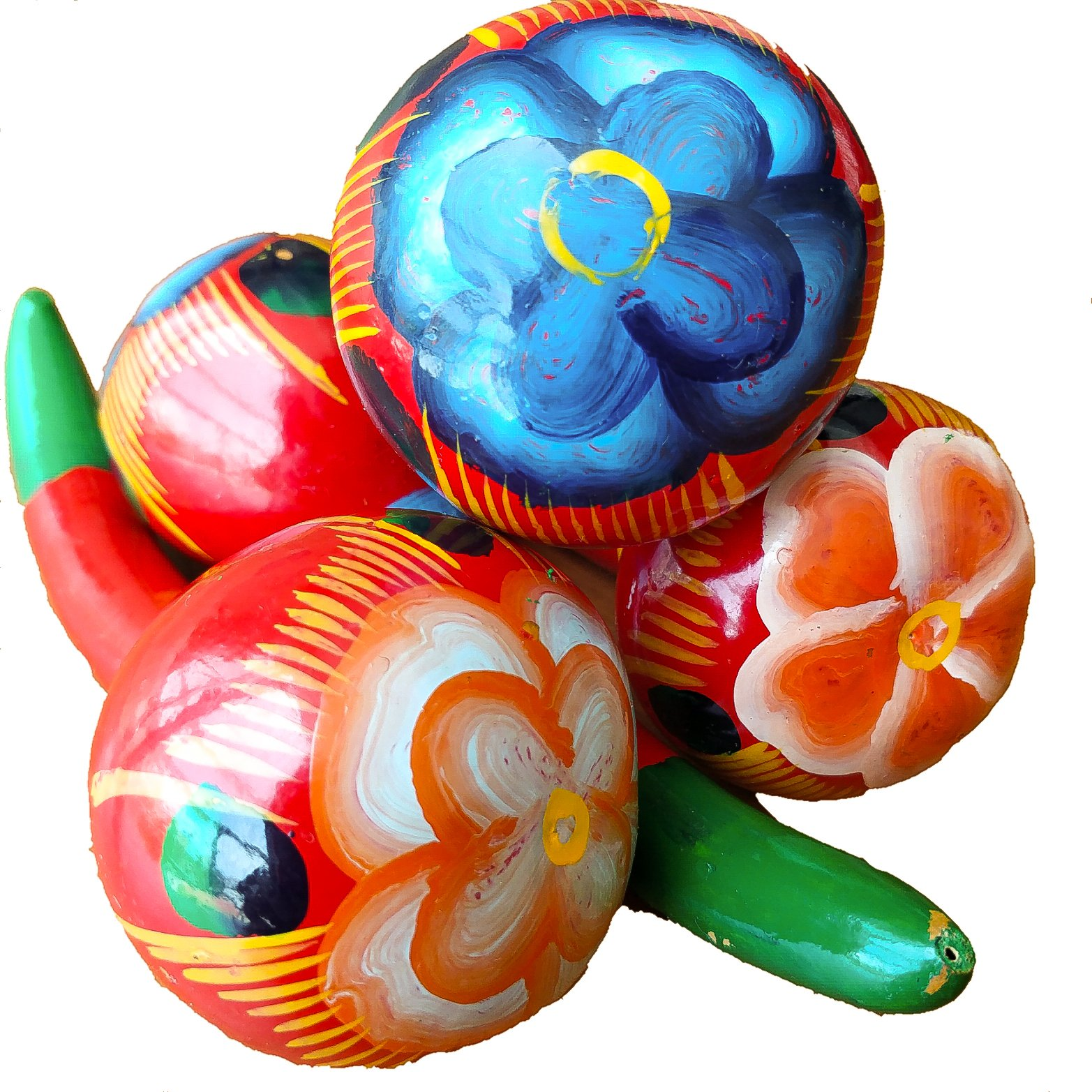 4 Mexican Rattles Handmade Colorful Maracas Traditional Ornament Toy Kid Fiesta Party