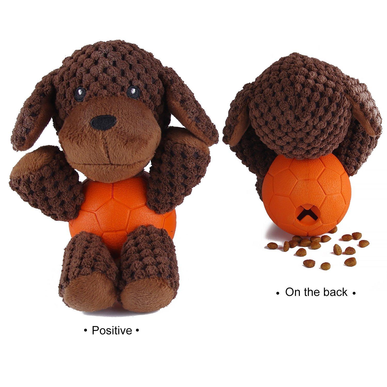 EETOYS Squeaky Plush Toy Interactive Animal Treat Dispensing Toy Dog Poodle