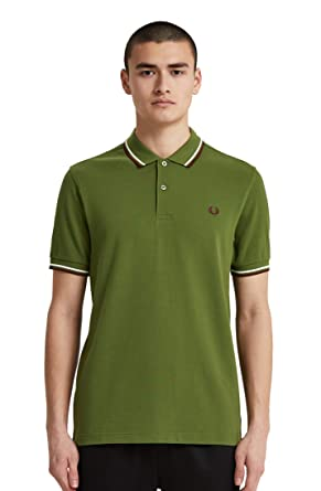 Fred Perry Hombres Polo con doble punta m3600 H94 Verde M: Amazon ...
