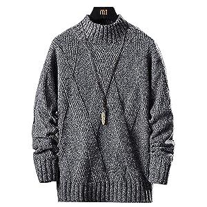 セーター メンズ 長袖 厚手 タートルネック ニットセーター 暖かい 防寒 カジュアル セーター 春秋冬 黑 L