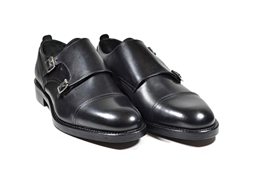 Saxone Of Scotland Doppia Fibbia Pelle Nera  Amazon.it  Scarpe e borse 0784c7d03a2