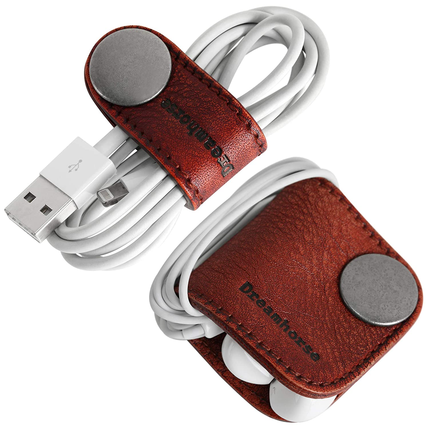 Dreamhorse Cord Organizer Earbud Holders Earphone Wrap Earphones Organizer Headset Headphone Wrap Winder Cord Manager Cable Winder with Genuine Leather Pack of 2 Red