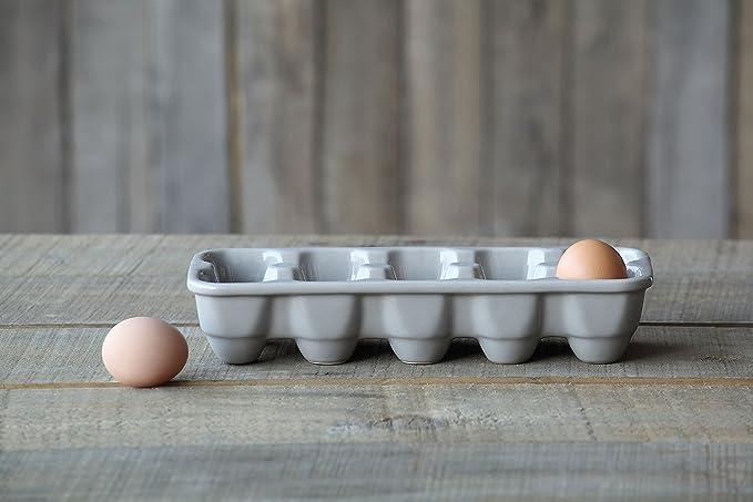 Amazon Com Creative Co Op Grey Stoneware Egg Holder Kitchen Dining