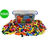 Bucket of Building Bricks - 1000 PC Bulk Blocks with Roof Pieces - Tight Fit and Compatible with All Major Brands