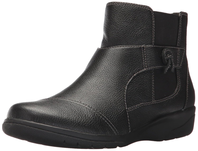 CLARKS Women's Cheyn Work Ankle Bootie B01N4J5CTK 7.5 W US|Black Leather