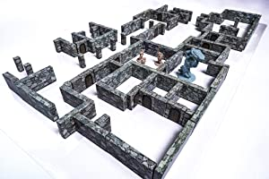 Modular Dungeon Wall System - Stone Walls Tabletop 28mm Miniatures Role Playing Game - DND Role Play - Battle Grid Mat Accessory - Dungeons and Dragons Maps