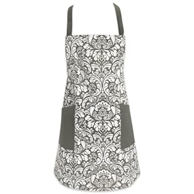 DII Cotton Adjusatble Women Kitchen Apron with Pockets and Extra Long Ties, 37.5 x 29 , Cute Apron for Cooking, Baking, Gardening, Crafting, BBQ-Damask Gray