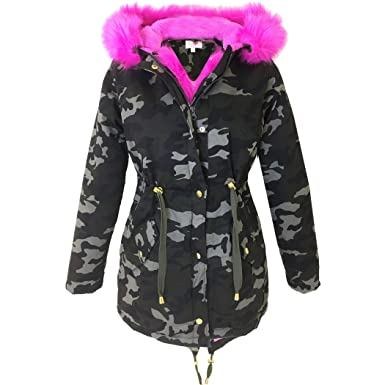 Brand New Ladies Parka Jackets Faux Fur Trim Hood Women Parka Coat ...