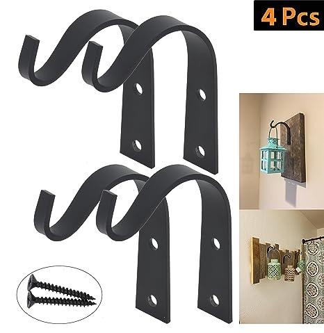 Amazon.com: OVOV 2 Pack Wrought Iron Hooks Decorative Rustic Wall ...